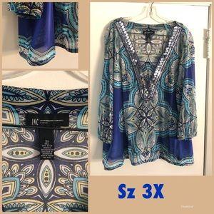 I.N.C. Woman sheer sequin top elastic hem 3X